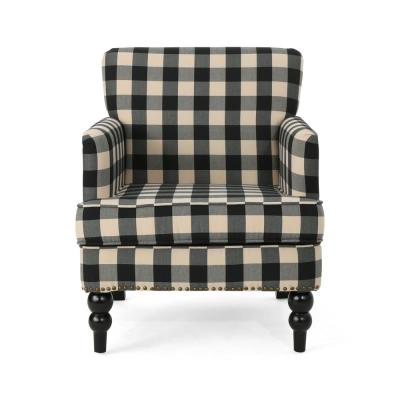 Harrison Black Checkerboard Fabric Club Chair with Stud Accents