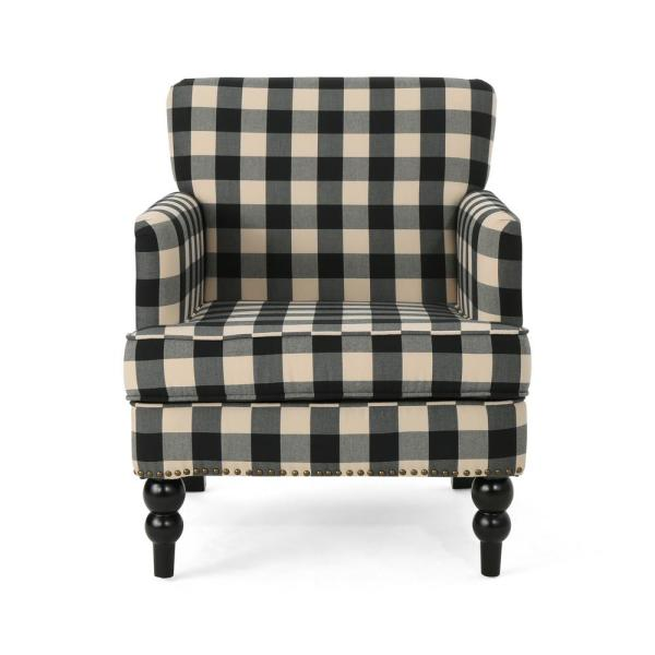 Noble House Harrison Black Checkerboard Fabric Club Chair with Stud Accents