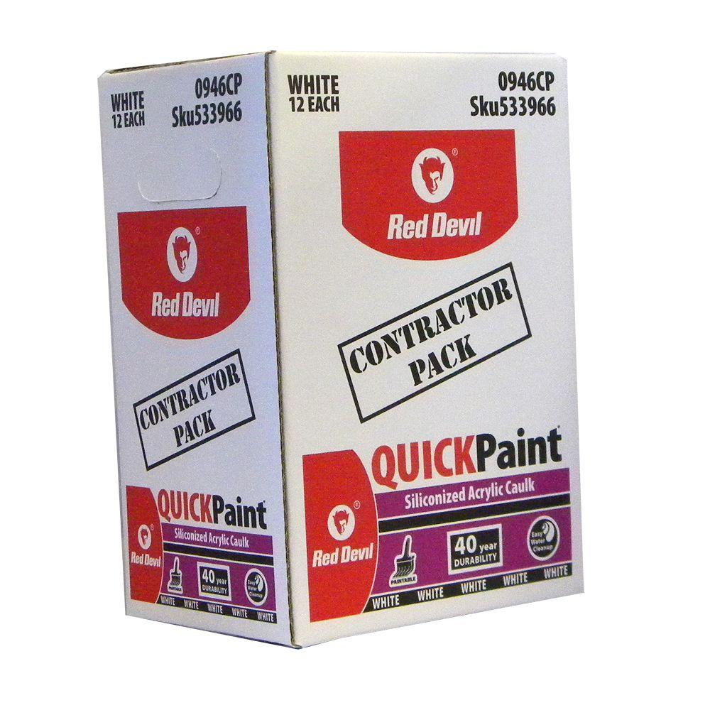 Red Devil 10.1 oz. Quick Paint Siliconized Acrylic Caulk (12-Pack)
