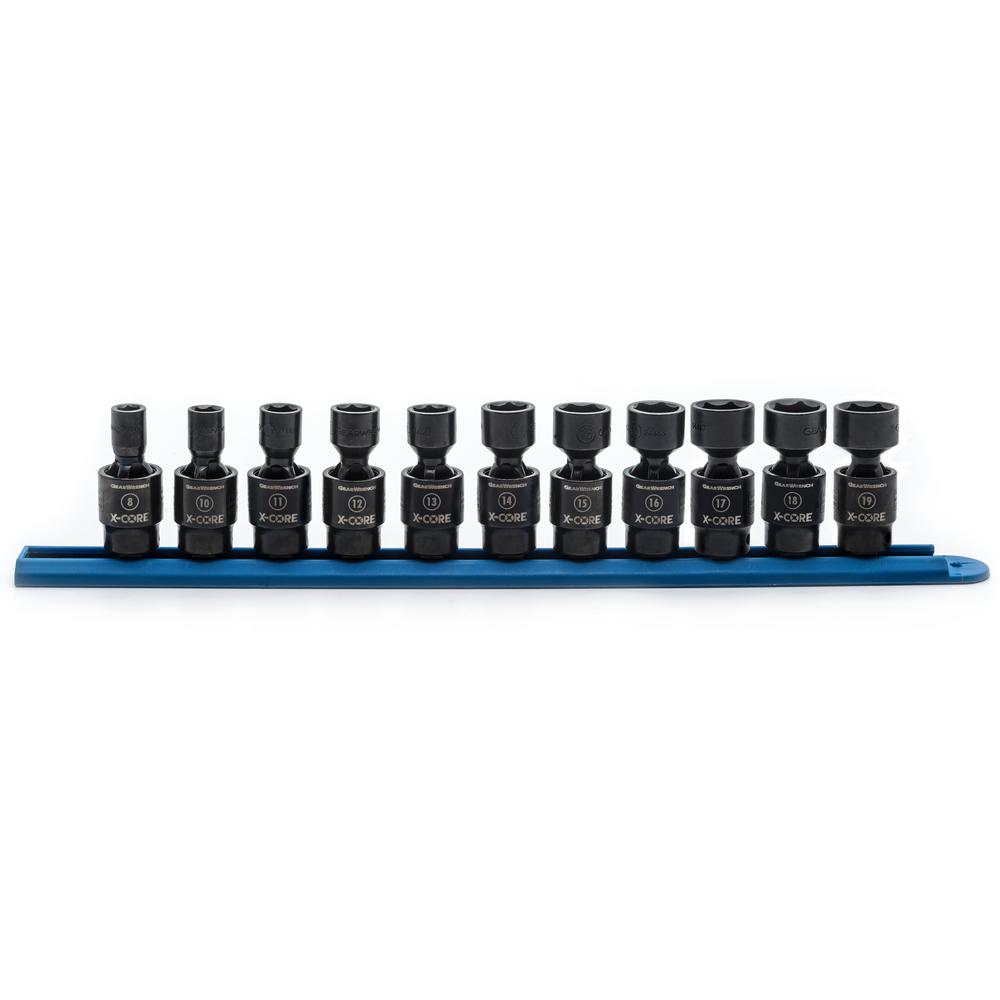 GearWrench GearWrench 3/8 in. Drive 6 Point Standard X-Core Pinless Universal Impact Metric Socket Set (11-Piece)