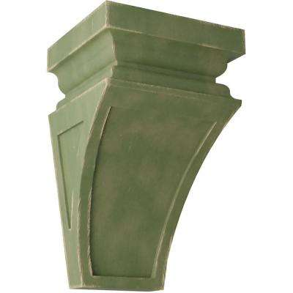 5 in. x 10 in. x 5-3/4 in. Restoration Green Medium Nevio Wood Vintage Decor Corbel