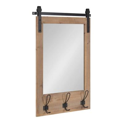 Cates 31 in. x 20 in. Classic Rectangle Framed Rustic Brown Wall Accent Mirror