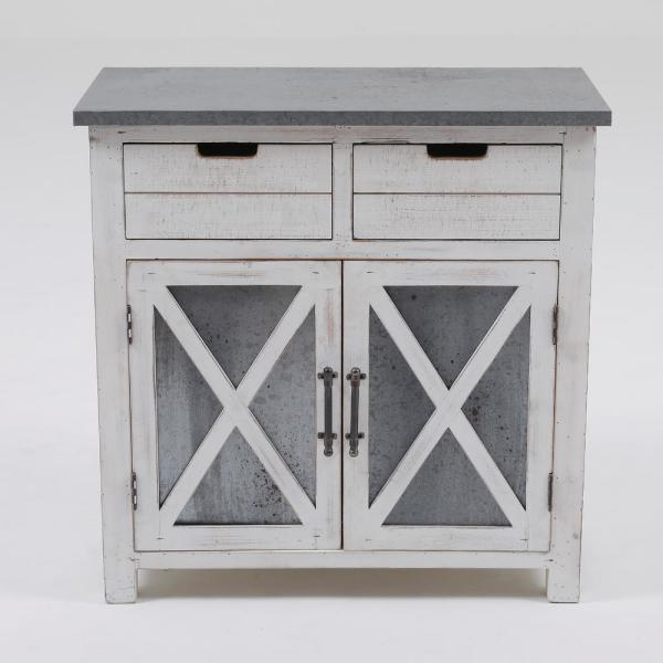 Gray White Wood Console Cabinet