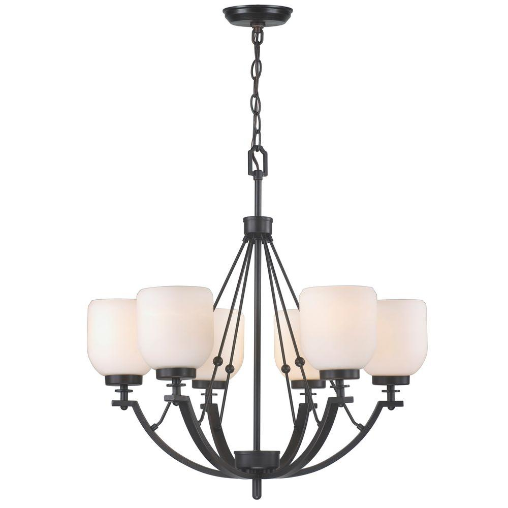 World Imports 6 Light Oil Rubbed Bronze Chandelier With White Frosted Glass Shade