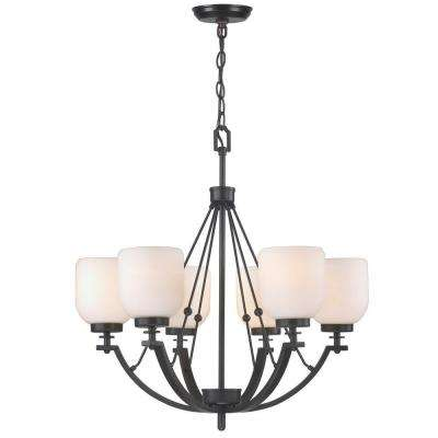 6-Light Oil-Rubbed Bronze Chandelier with White Frosted Glass Shade