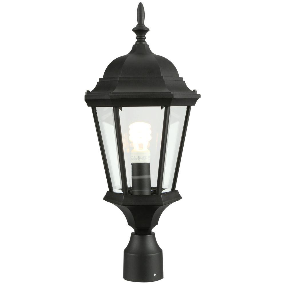 Welbourne Collection Textured Black 1-Light Outdoor Post Lantern