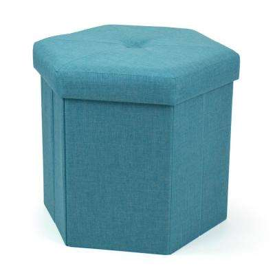 Turquoise Hexagonal Upholstered Collapsible Storage Ottoman