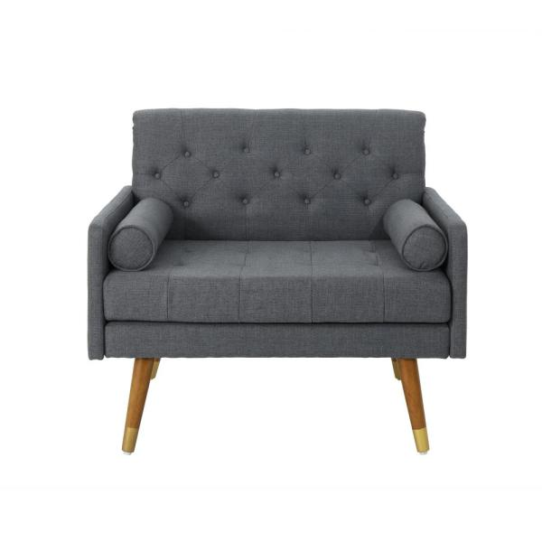 Noble House Eugene Mid-Century Modern Tufted Dark Gray Fabric Club Chair