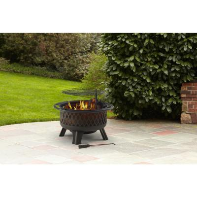 Piedmont 30 in. Steel Fire Pit in Black with Poker
