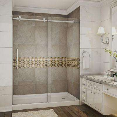 Moselle 60 in. x 77-1/2 in. Completely Frameless Sliding Shower Door in Chrome with Right Base