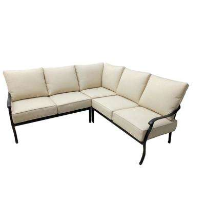 Belcourt 3-Piece Metal Patio Sectional Seating Set with Cushions Included, Choose Your Own Color