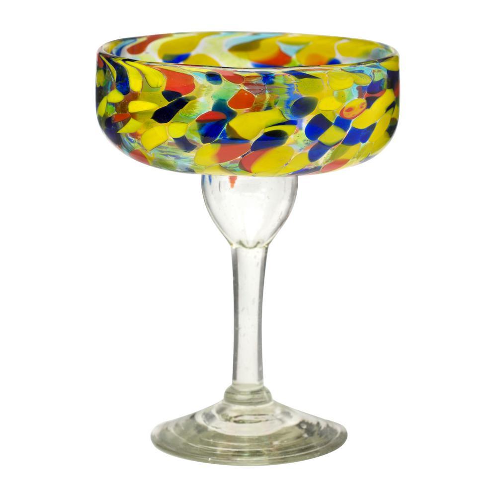 Carnaval 4-Piece Multicolor Glass Margarita Drinkware Set with 14 oz. Capacity