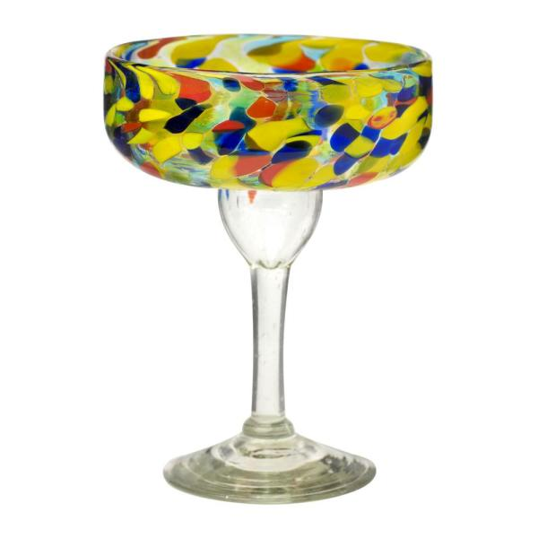 Amici Home Carnaval 4-Piece Multicolor Glass Margarita Drinkware Set with 14