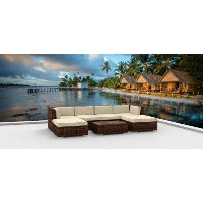 Brown Series 7-Piece Wicker Outdoor Sectional Seating Set with Beige Cushions