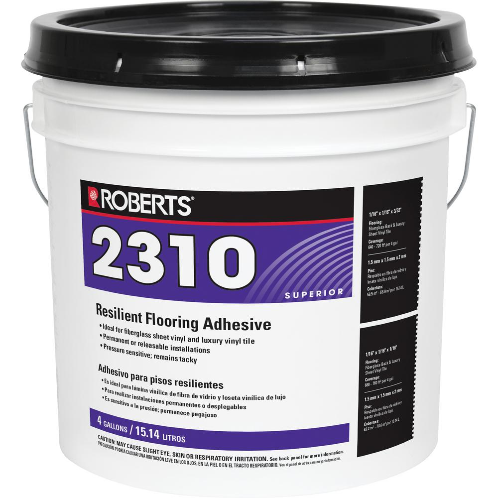 roberts 4 gal premium fiberglass and luxury vinyl tile adhesive 2310 4 the home depot. Black Bedroom Furniture Sets. Home Design Ideas