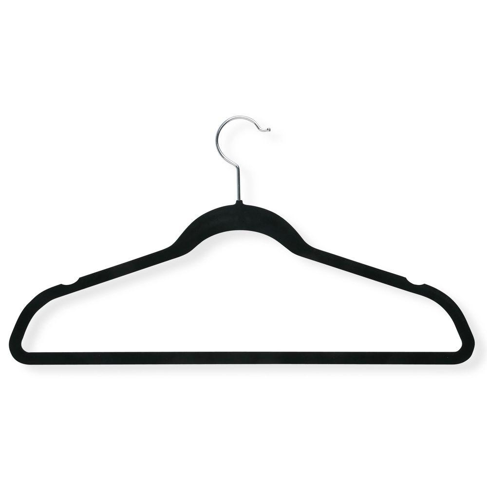 Black Velvet Touch Suit Hanger with Shoulder Notches (9-Pack)