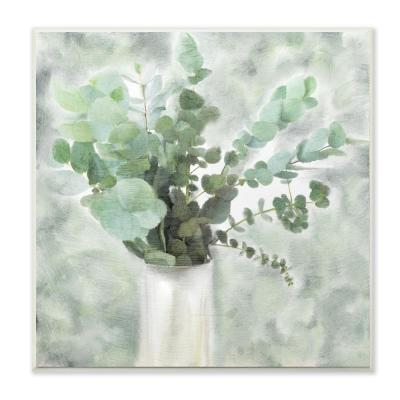 "12 in. x 12 in. ""Sage Green Painterly Eucalyptus In White Vase "" by Kimberly Allen Wood Wall Art"
