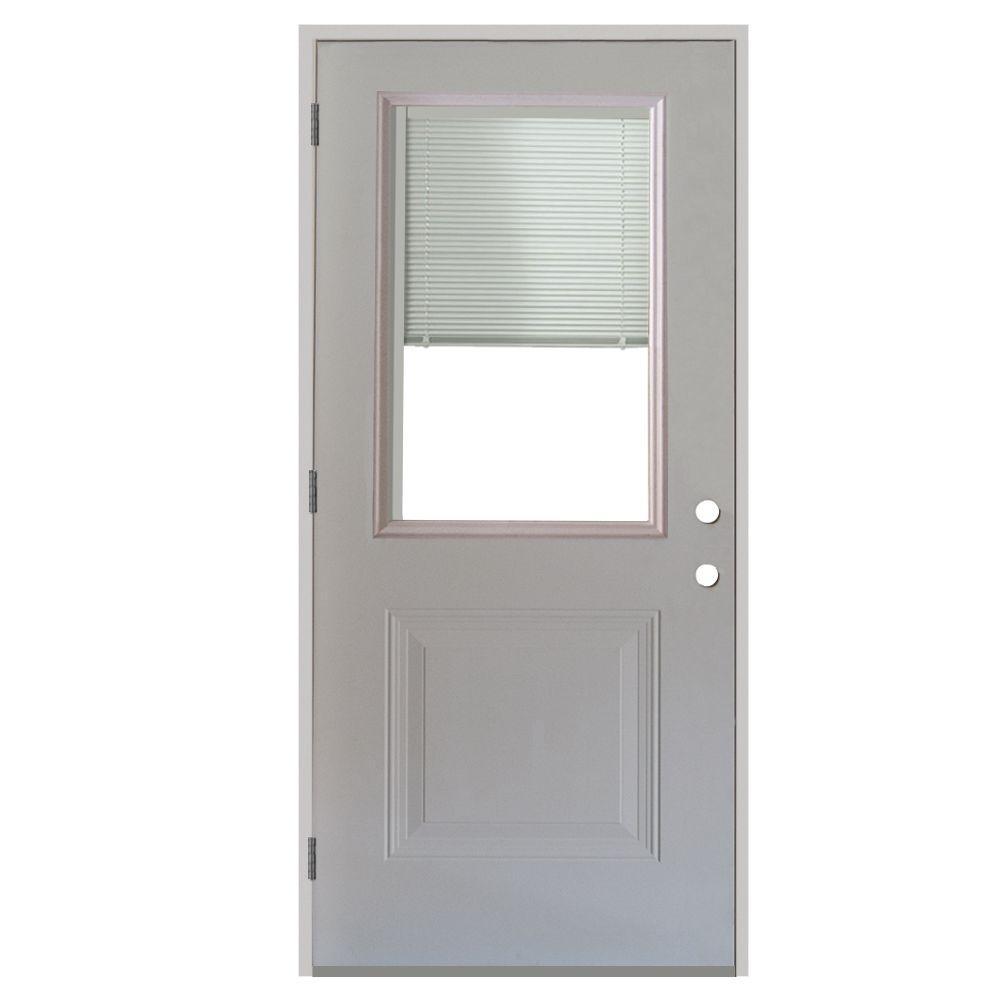 1 Panel 1/2 Lite Mini Blind Primed White Steel Prehung Front Door