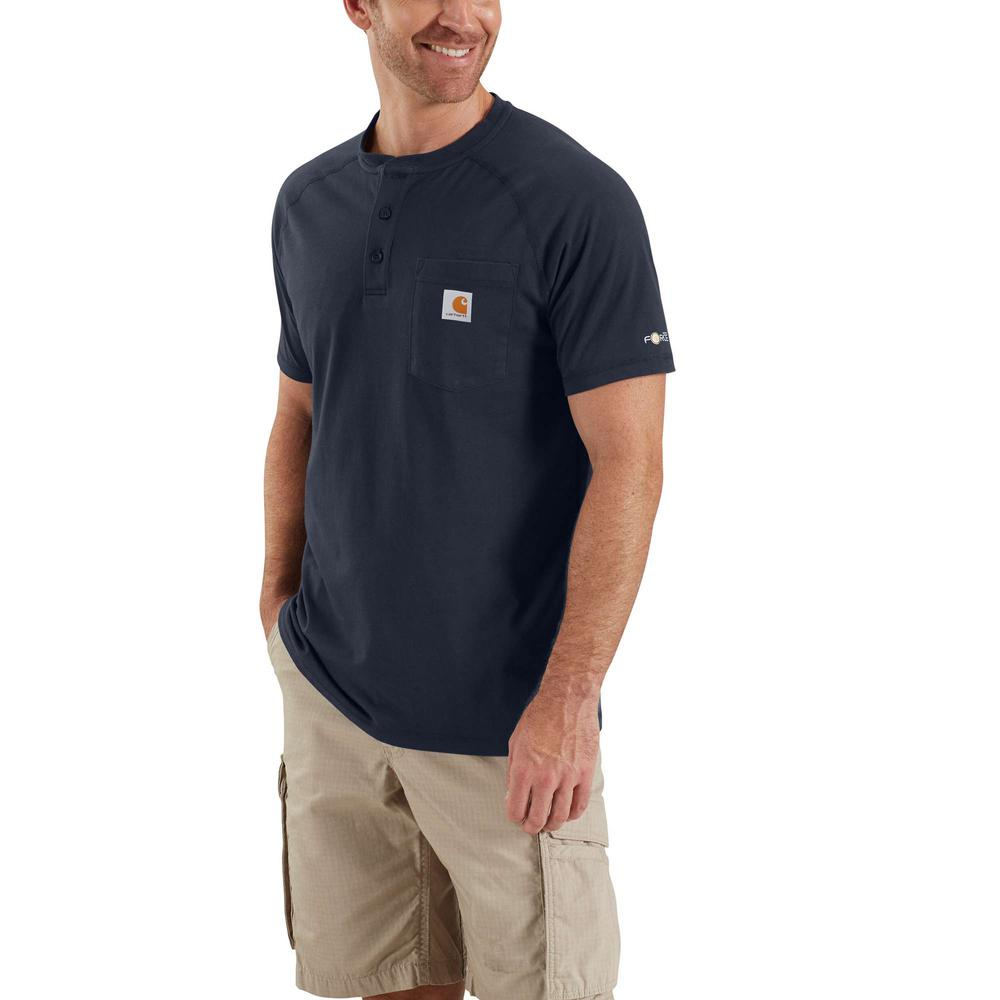 Carhartt Men's 4X-Large Navy Cotton/Polyester Force Cotton Delmont Short Sleeve Henley Relaxed Fit