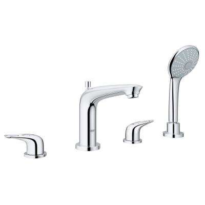 Eurostyle 2-Handle Deck-Mount Roman Bathtub Faucet with Handheld Shower in StarLight Chrome