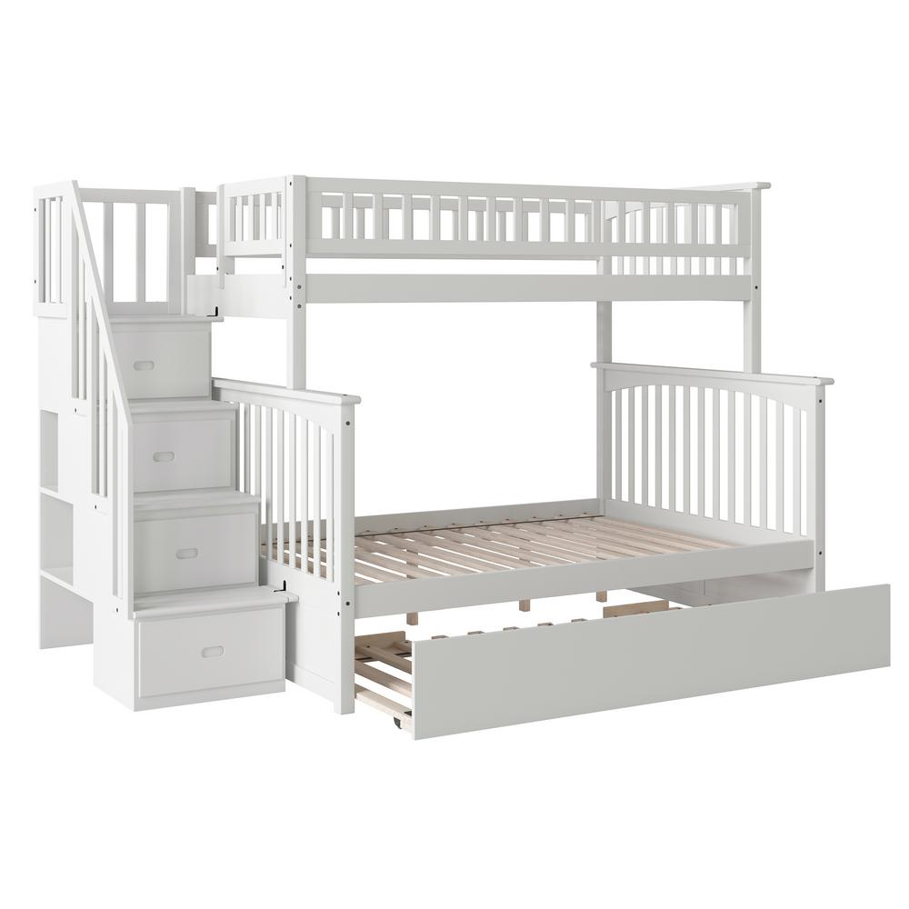 Atlantic Furniture Columbia Staircase White Twin Over Full Bunk Bed With Urban Trundle