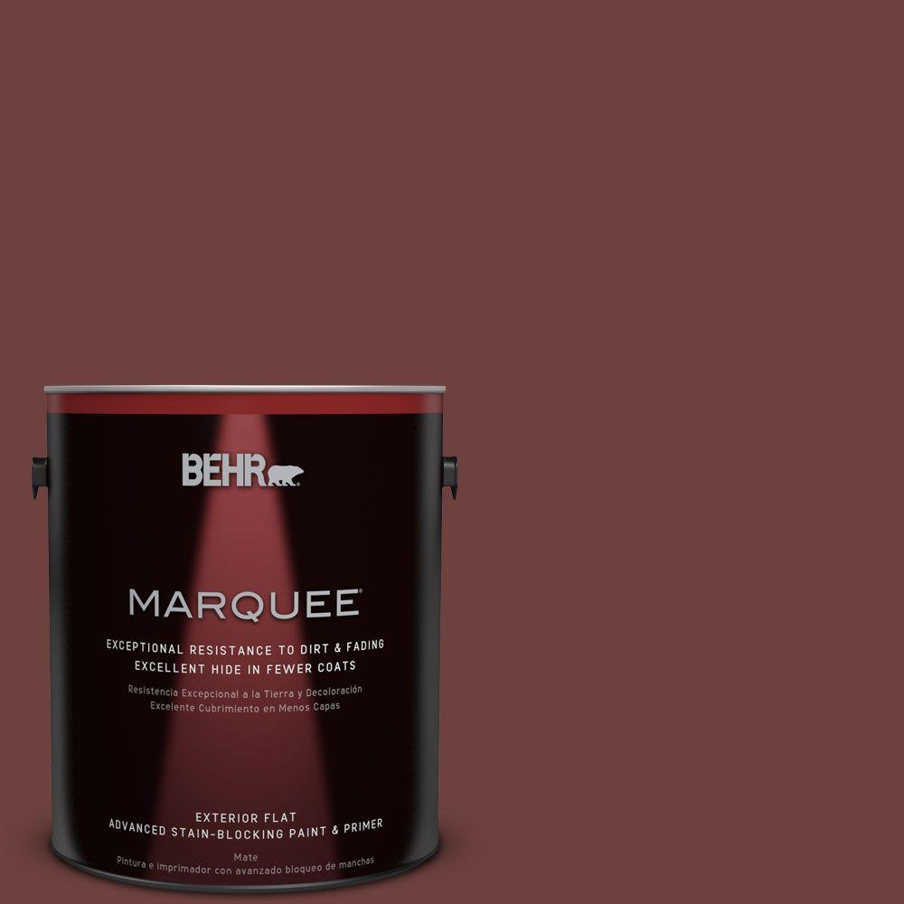 BEHR MARQUEE 1-gal. #ICC-82 Library Red Flat Exterior Paint