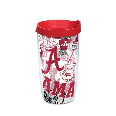 Unv Of Alabama All Over 16 oz. Double Walled Insulated Tumbler with Travel Lid