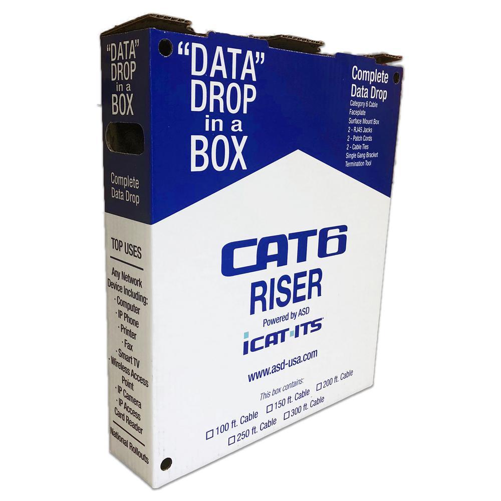 Data Drop-in-a Box Cat6 100 ft. Blue Riser Kit