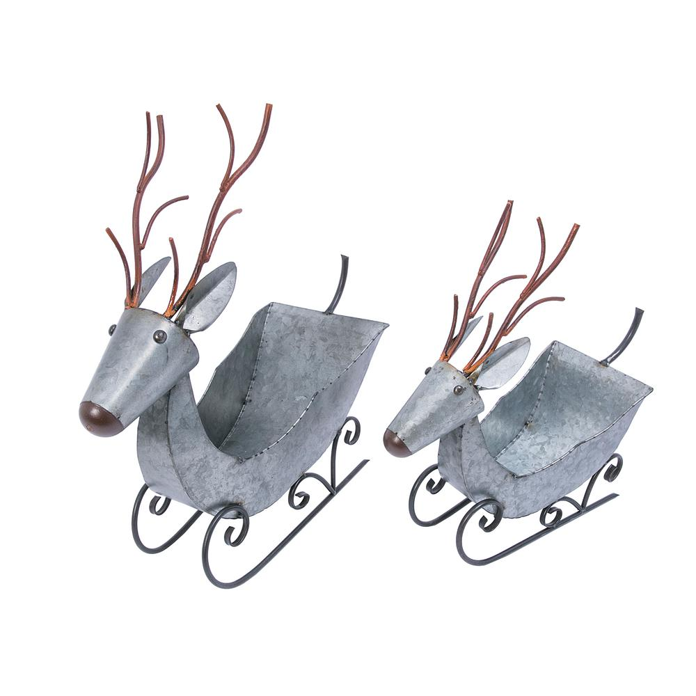 Gerson 20 In Assorted Galvanized Metal Sled Deer Containers Set Of 2 2488700ec The Home Depot