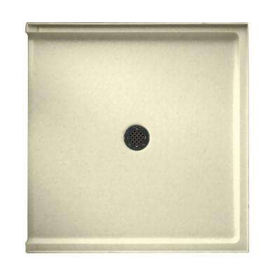 37 in. x 38 in. Solid Surface Single Threshold Shower Floor in Bone