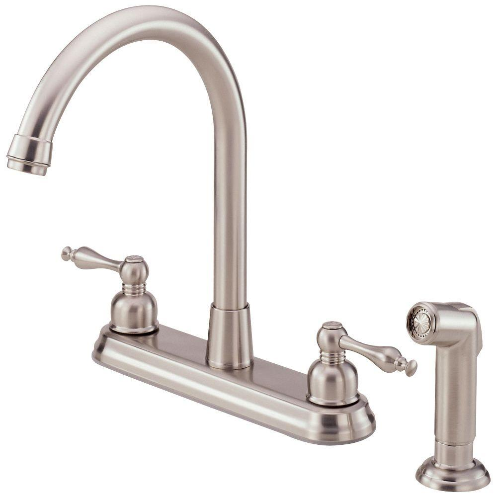 Danze Sheridan 2-Handle Standard Kitchen Faucet with Veggie Spray in Stainless Steel