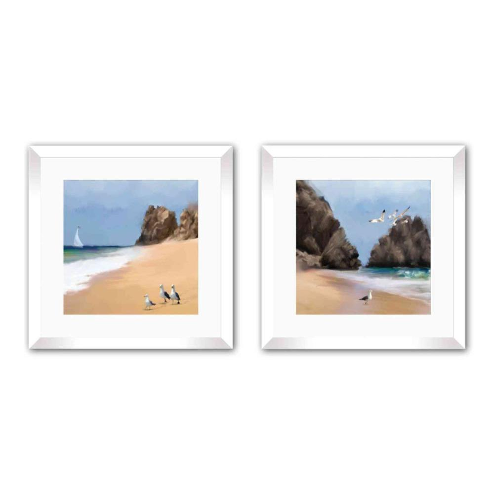 """PTM Images 18 in. x 18 in. """"Strolling Seagulls"""" Framed Wall Art"""