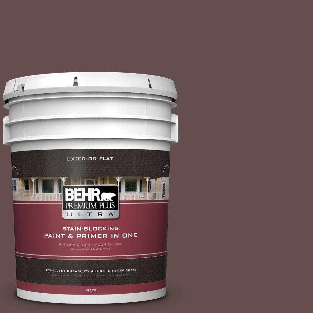 5 gal. #HDC-CL-13A Library Leather Flat Exterior Paint