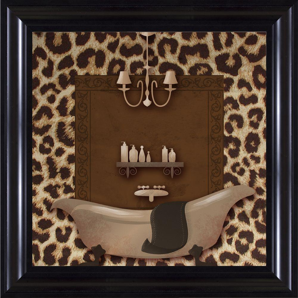 "15-1/4 in. x 15-1/4 in. ""Leopard Bath A"" Framed Wall Art"