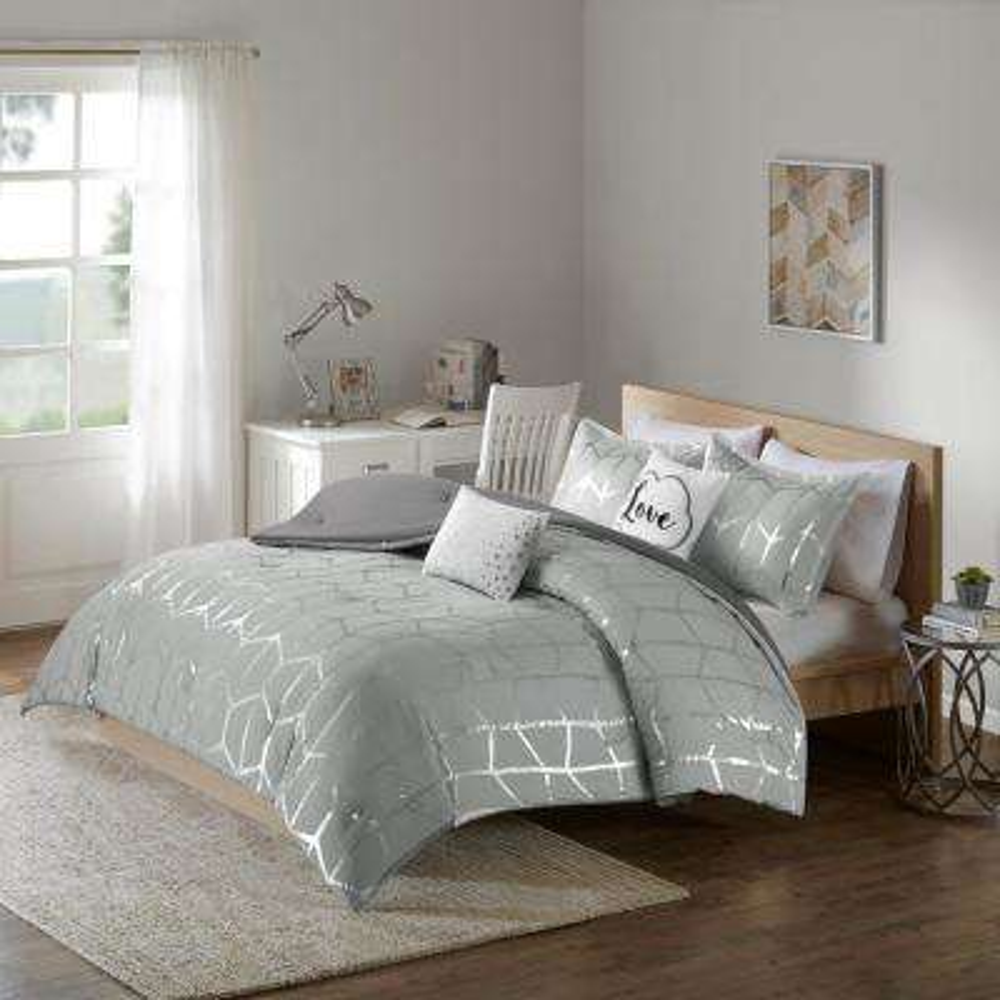 Khloe 5-Piece Grey/Silver Full/Queen Geometric Comforter Set