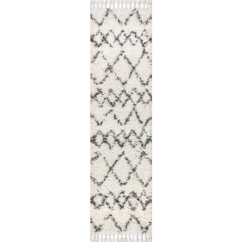 JONATHAN Y Mercer Shag Plush Tassel Moroccan Tribal Geometric Trellis Cream/Grey 2 ft. x 8 ft. Runner Rug