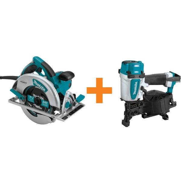 15 Amp 7-1/4 in. Lightweight Magnesium Circular Saw with bonus 15-Degree 1-3/4 in. Pneumatic Coil Roofing Nailer