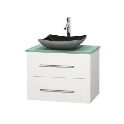 Centra 30 in. Vanity in White with Glass Vanity Top in Green and Black Granite Sink