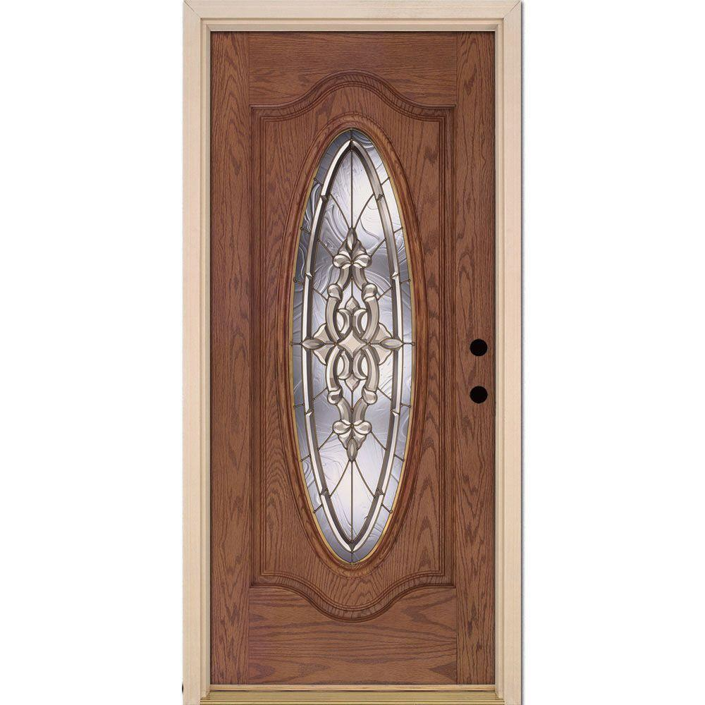 Feather river doors 37 5 in x in silverdale brass for Glass entry doors for home