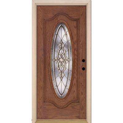 37.5 in. x 81.625 in. Silverdale Brass Full Oval Lite Stained Medium Oak Left-Hand Inswing Fiberglass Prehung Front Door