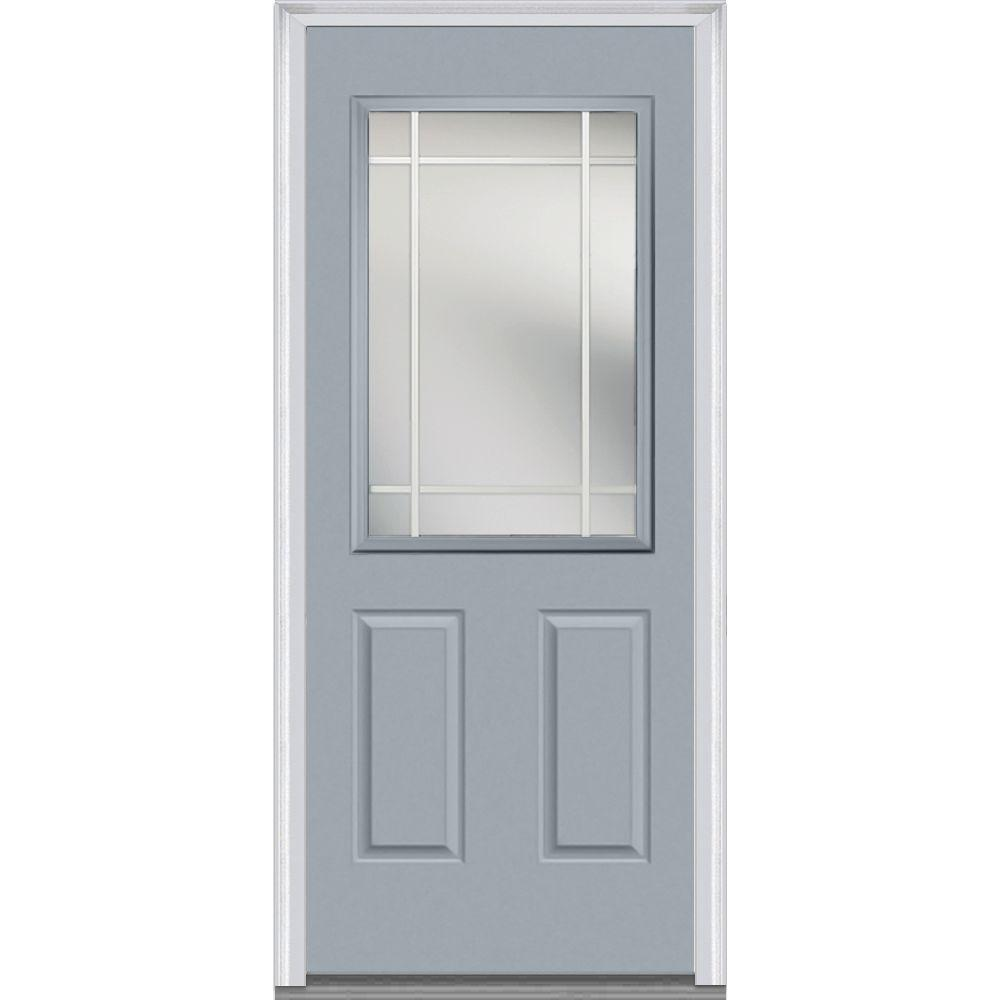 Mmi door 32 in x 80 in prairie internal muntins right for Prehung exterior doors with storm door