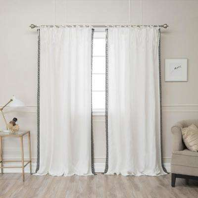84 in. L Abelia Belgian Flax Linen Grey Lace Trim Tie Top Curtain Panel in Ivory