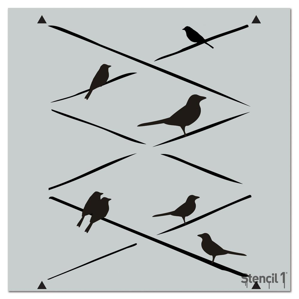 Stencil1 Birds on Wire Repeat Pattern Stencil-S1_PA_21 - The Home Depot