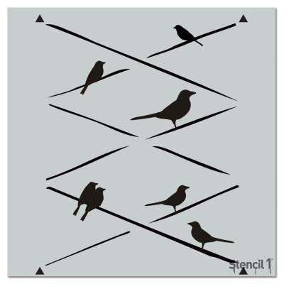 Birds on Wire Repeat Pattern Stencil