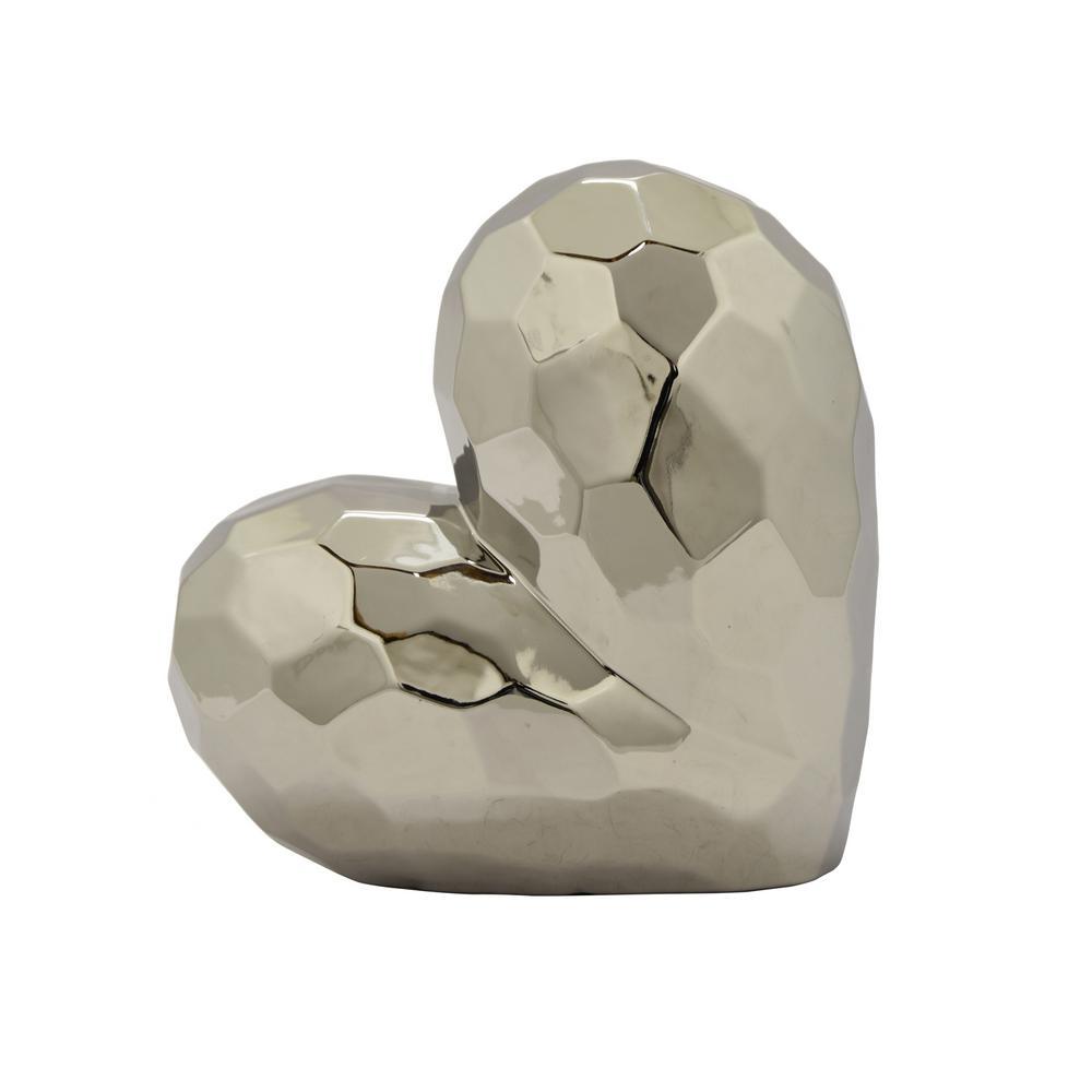 11.5 in. Silver Ceramic Heart Tabletop