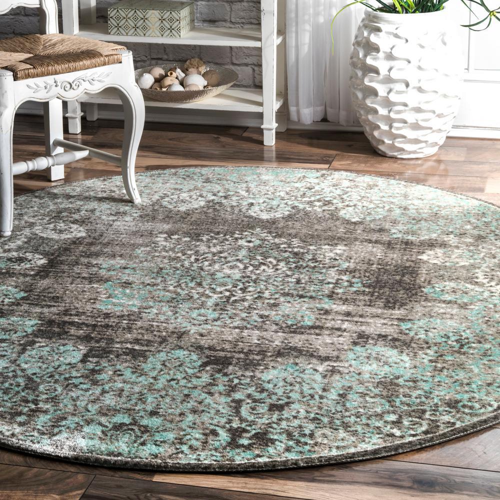Lacy Vintage Floral Teal 6 ft. Round Rug