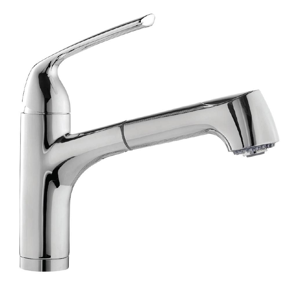 HOUZER Calia Single-Handle Bar Faucet with Pull Out and CeraDox Technology in Polished Chrome