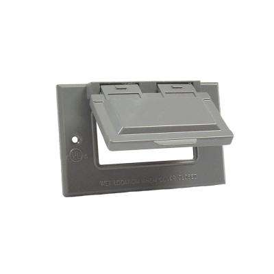 Gray 1-Gang GFCI Weatherproof Cover with Horizontal Mount