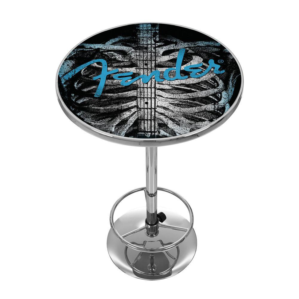 Trademark Fender Ribcage 42 in. H Pub Table in Chrome