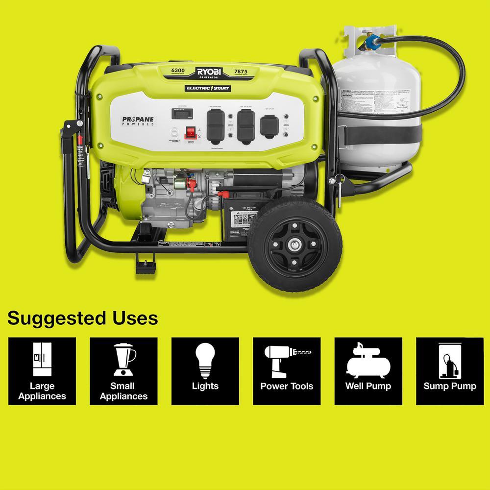 6,300 Running Watt Propane Gas Powered Electric Start Portable Generator